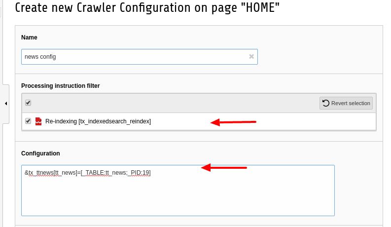 Crawler configuration
